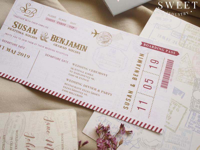 การ์ดแต่งงาน Boarding Pass 4*8.5 นิ้ว ราคา 20 บาท
