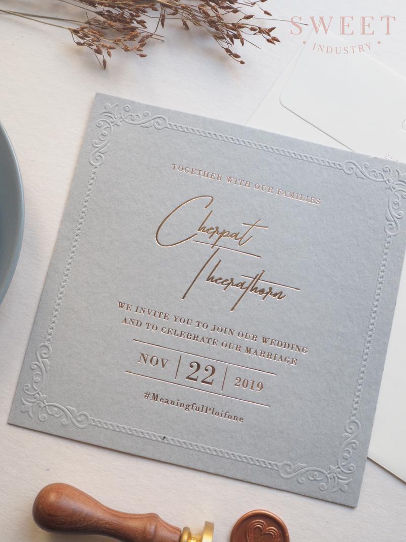 การ์ดแต่งงาน Grand Signature 5.8*5.8 นิ้ว ราคา 25 บาท